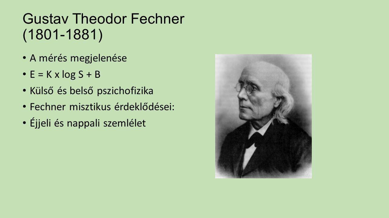 Gustav Theodor Fechner (1801-1881) A mérés megjelenése E = K x log S + B Külső és belső pszichofizika Fechner misztikus érdeklődései: Éjjeli és nappal