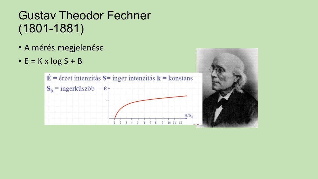 Gustav Theodor Fechner (1801-1881) A mérés megjelenése E = K x log S + B