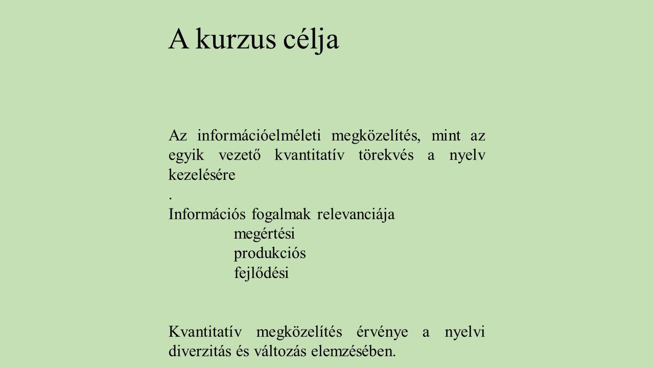 Az információelméleti megközelítés, mint az egyik vezető kvantitatív törekvés a nyelv kezelésére. Információs fogalmak relevanciája megértési produkci