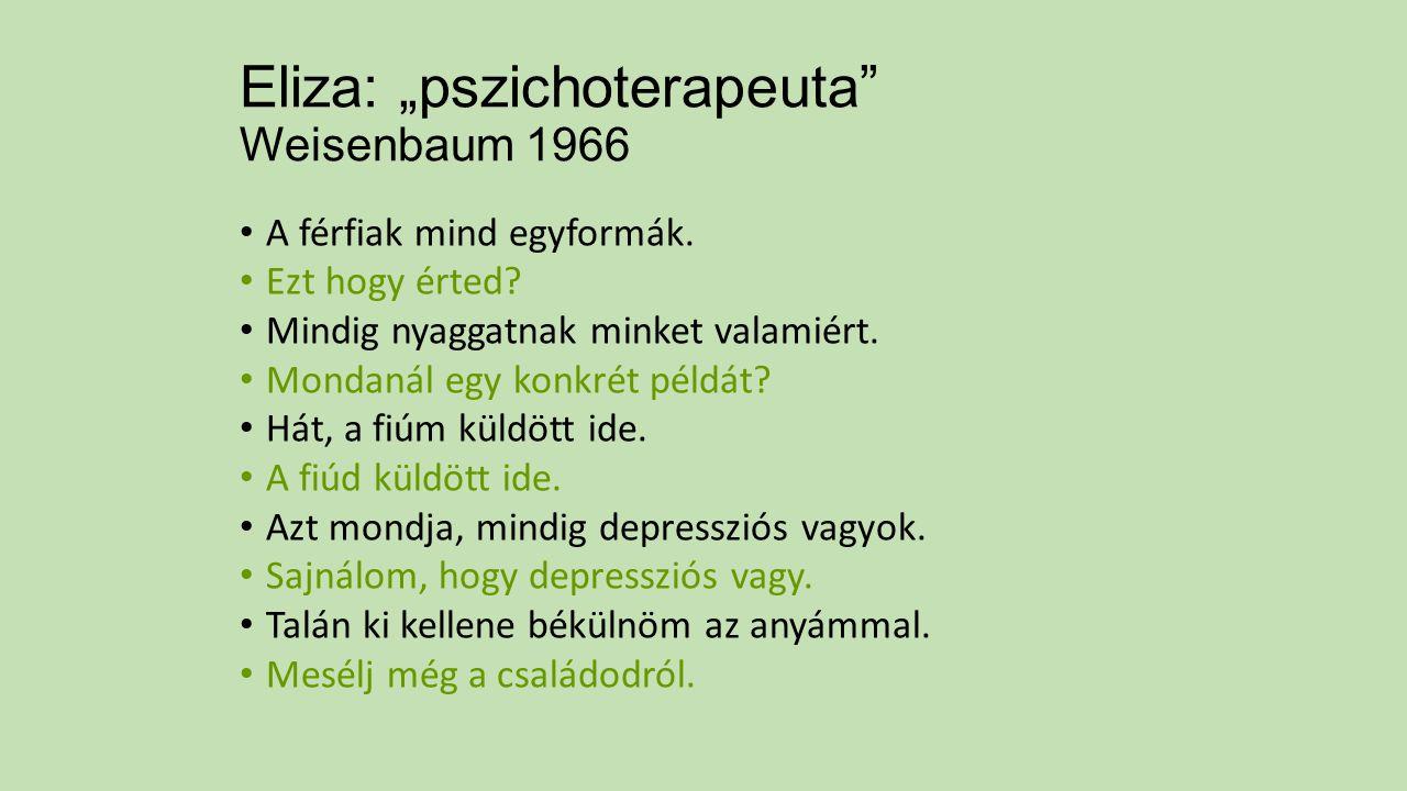 """Eliza: """"pszichoterapeuta"""" Weisenbaum 1966 A férfiak mind egyformák. Ezt hogy érted? Mindig nyaggatnak minket valamiért. Mondanál egy konkrét példát? H"""