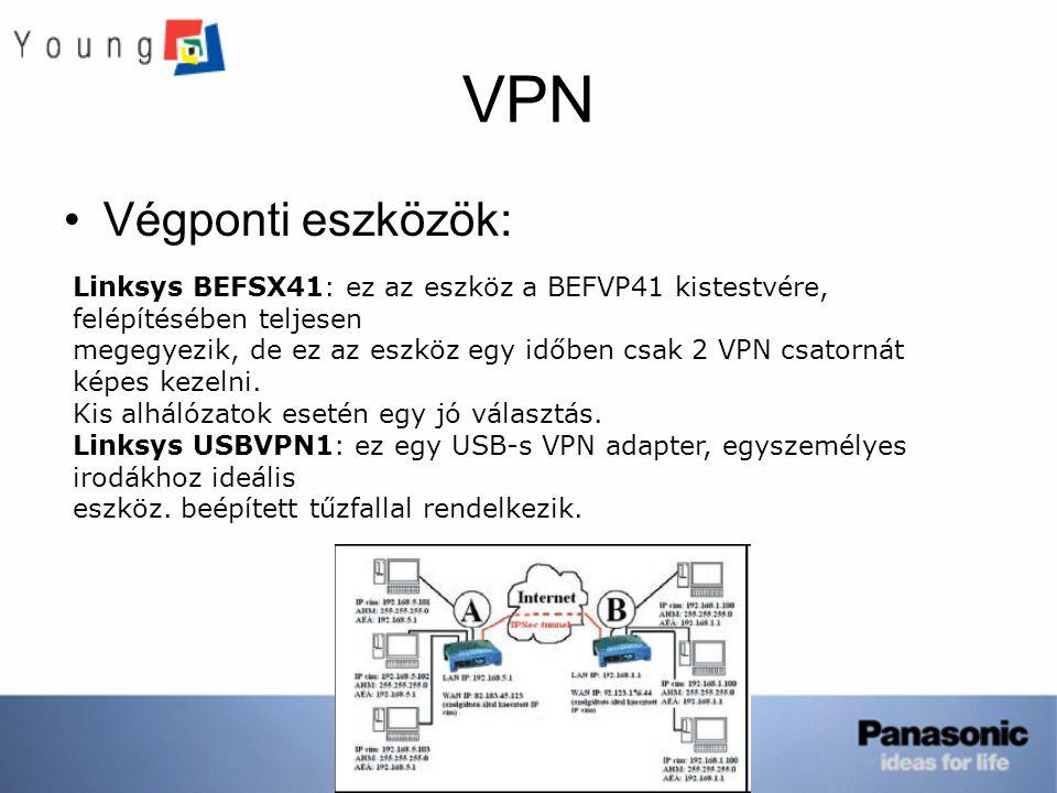 VPN Végponti eszközök: Linksys BEFSX41: ez az eszköz a BEFVP41 kistestvére, felépítésében teljesen megegyezik, de ez az eszköz egy időben csak 2 VPN c