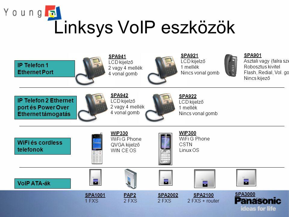 Linksys VoIP eszközök SPA941 LCD kijelző 2 vagy 4 mellék 4 vonal gomb SPA942 LCD kijelző 2 vagy 4 mellék 4 vonal gomb SPA922 LCD kijelző 1 mellék Ninc