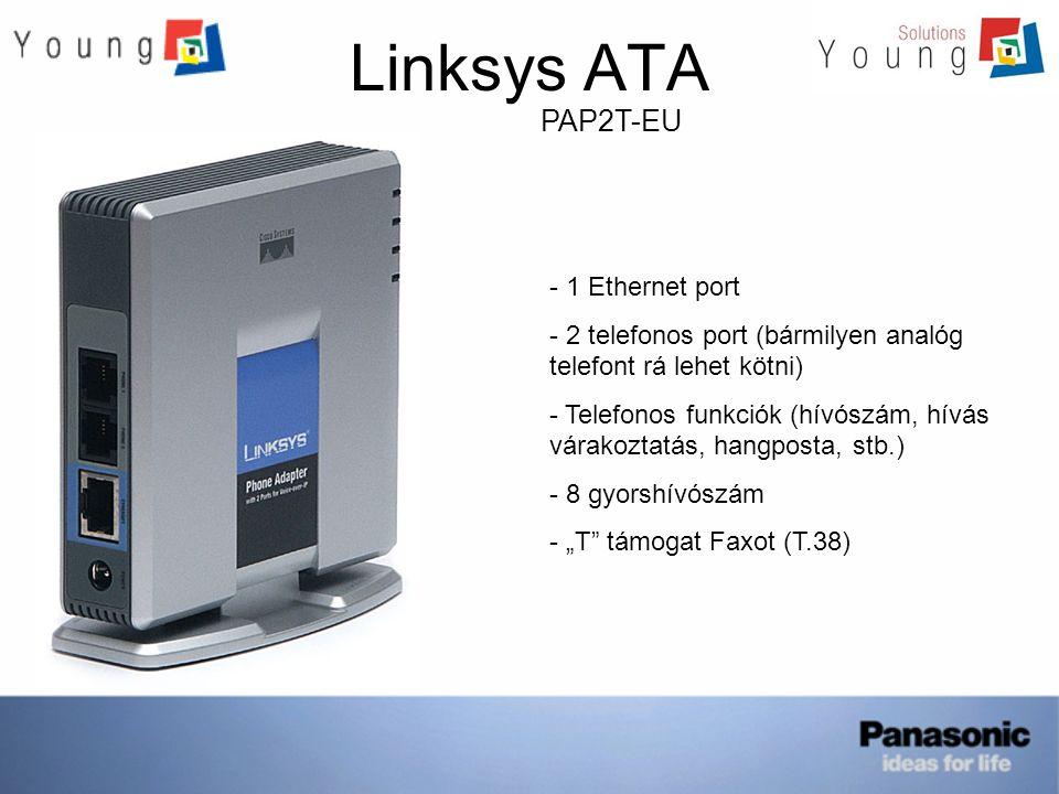 Linksys ATA SPA-1001 - 1 Ethernet port - 1 telefonos port (bármilyen analóg telefont rá lehet kötni) - Telefonos funkciók (hívószám, hívás várakoztatás, hangposta, stb.) - 8 gyorshívószám