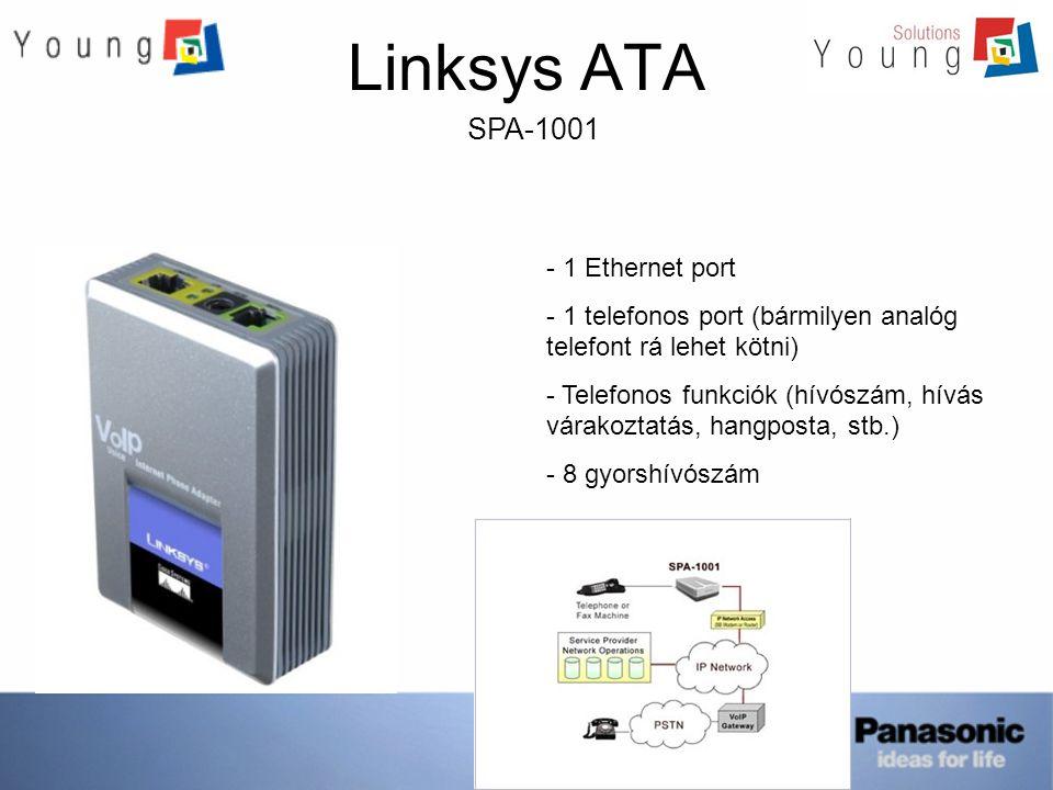 Linksys ATA SPA-2002 - 1 Ethernet port - 2 telefonos port (bármilyen analóg telefont rá lehet kötni) - Telefonos funkciók (hívószám, hívás várakoztatás, hangposta, FAX, stb.) - 8 gyorshívószám