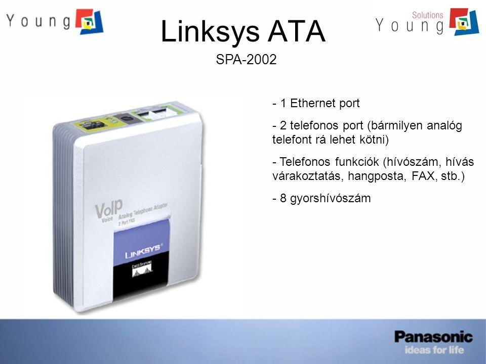 Linksys ATA SPA-2102 - 2 Ethernet port (WAN, LAN) - Router, Bridge mód - 2 telefonos port (2 FXS) - Telefonos funkciók (hívószám, hívás várakoztatás, hangposta, stb.) - QoS támogatása - 8 gyorshívószám - Fax támogatása, stb.