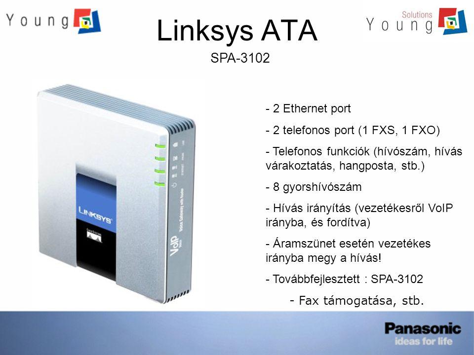 Linksys ATA SPA-3102 - 2 Ethernet port - 2 telefonos port (1 FXS, 1 FXO) - Telefonos funkciók (hívószám, hívás várakoztatás, hangposta, stb.) - 8 gyor