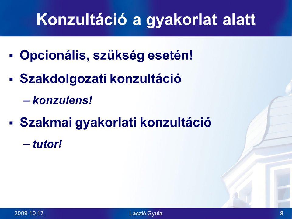 2009.10.17.László Gyula8 Konzultáció a gyakorlat alatt  Opcionális, szükség esetén!  Szakdolgozati konzultáció –konzulens!  Szakmai gyakorlati konz