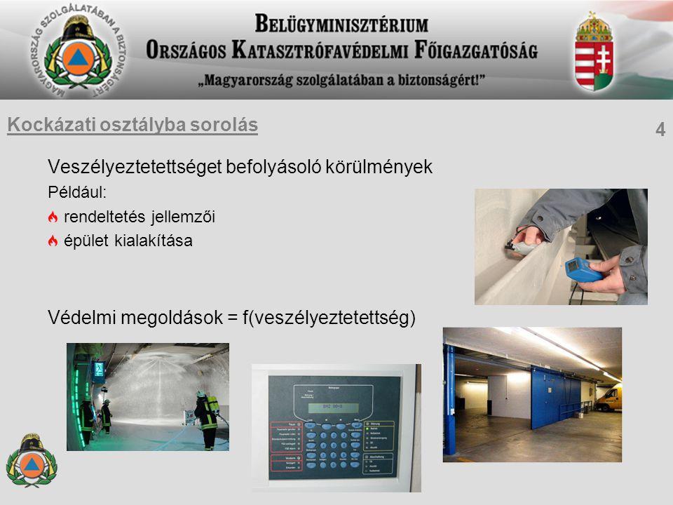 Veszélyeztetettséget befolyásoló körülmények Például: rendeltetés jellemzői épület kialakítása Védelmi megoldások = f(veszélyeztetettség) Kockázati osztályba sorolás 4