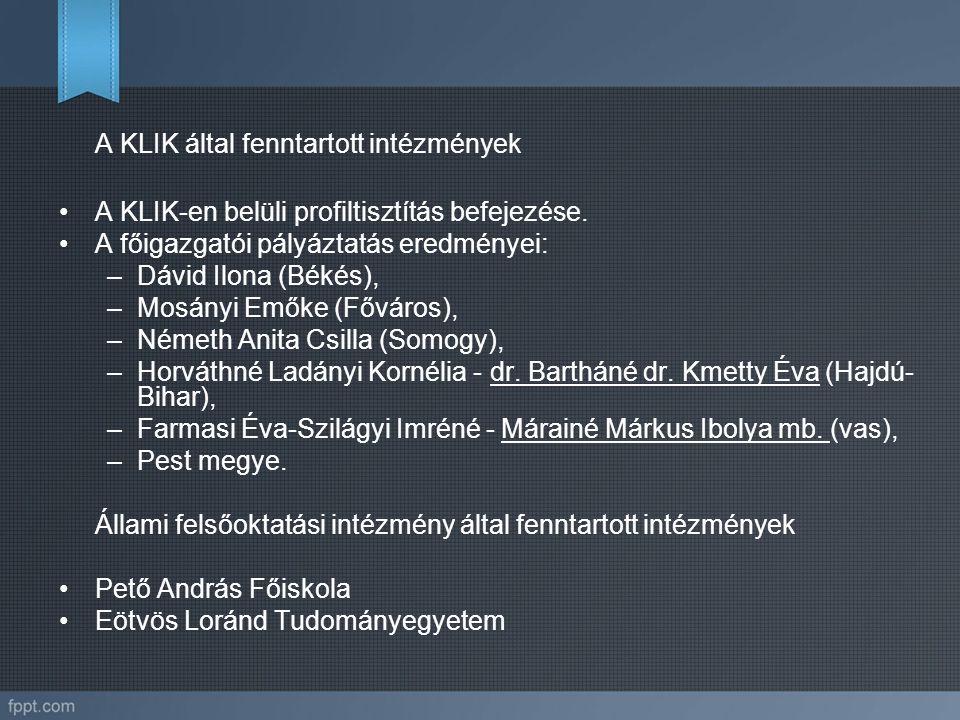 A KLIK által fenntartott intézmények A KLIK-en belüli profiltisztítás befejezése. A főigazgatói pályáztatás eredményei: –Dávid Ilona (Békés), –Mosányi