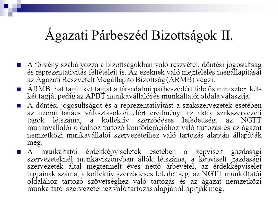 Ágazati Párbeszéd Bizottságok II.