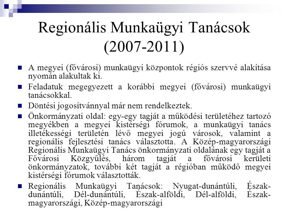 Regionális Munkaügyi Tanácsok (2007-2011) A megyei (fővárosi) munkaügyi központok régiós szervvé alakítása nyomán alakultak ki.