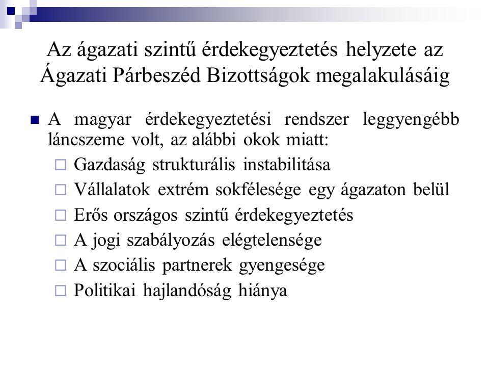 Az ágazati szintű érdekegyeztetés helyzete az Ágazati Párbeszéd Bizottságok megalakulásáig A magyar érdekegyeztetési rendszer leggyengébb láncszeme volt, az alábbi okok miatt:  Gazdaság strukturális instabilitása  Vállalatok extrém sokfélesége egy ágazaton belül  Erős országos szintű érdekegyeztetés  A jogi szabályozás elégtelensége  A szociális partnerek gyengesége  Politikai hajlandóság hiánya