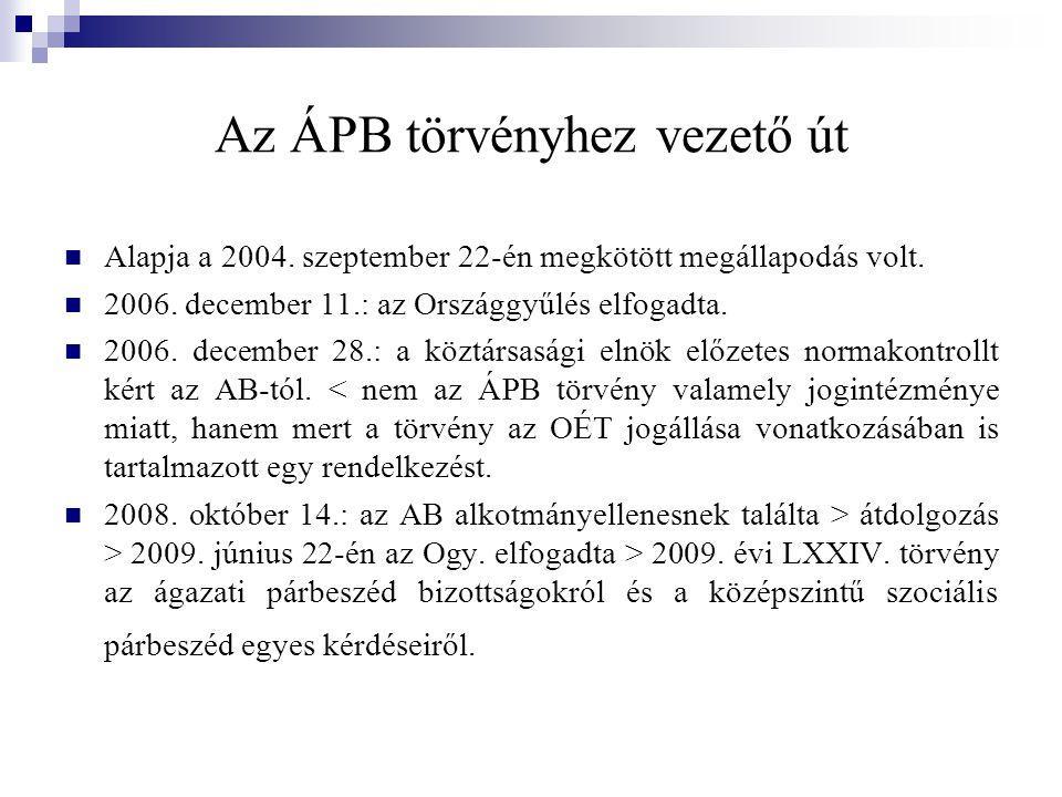 Az ÁPB törvényhez vezető út Alapja a 2004. szeptember 22-én megkötött megállapodás volt.