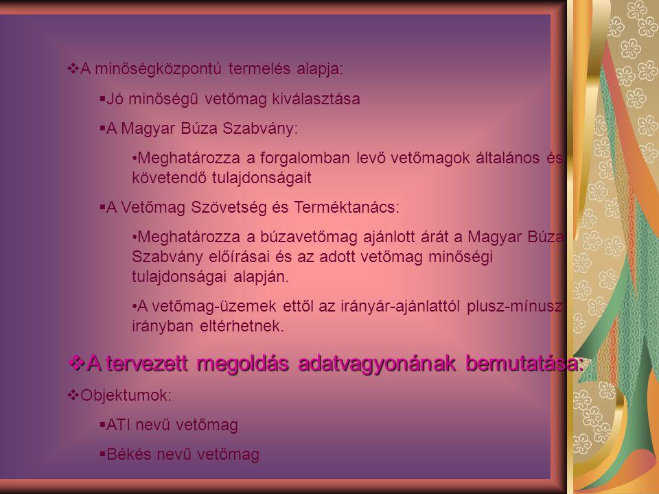  A minőségközpontú termelés alapja:  Jó minőségű vetőmag kiválasztása  A Magyar Búza Szabvány: Meghatározza a forgalomban levő vetőmagok általános és követendő tulajdonságait  A Vetőmag Szövetség és Terméktanács: Meghatározza a búzavetőmag ajánlott árát a Magyar Búza Szabvány előírásai és az adott vetőmag minőségi tulajdonságai alapján.