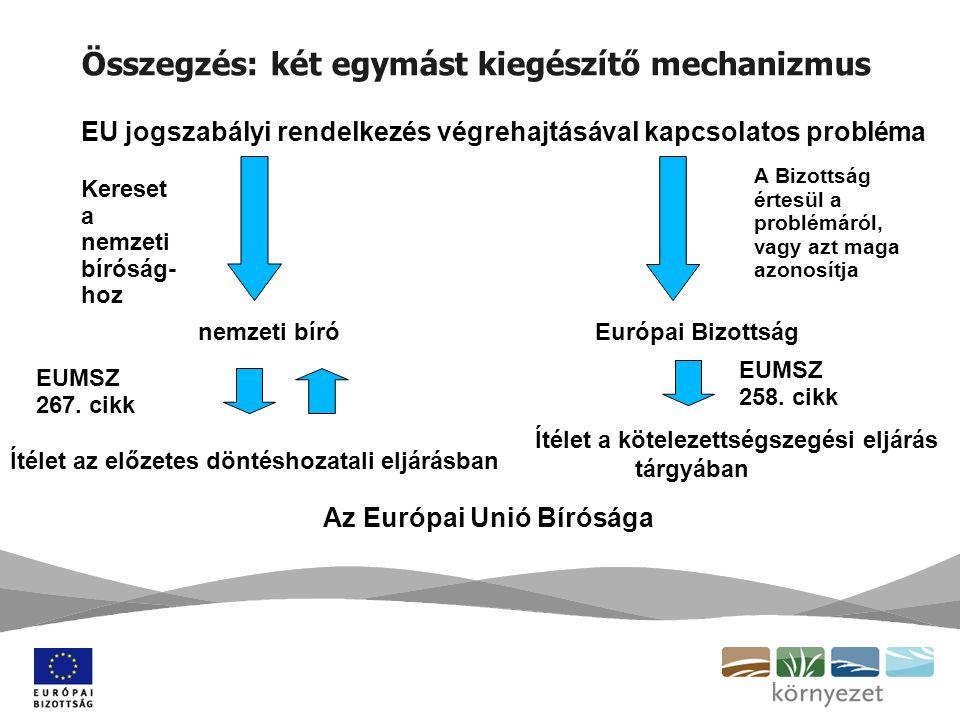 Összegzés: két egymást kiegészítő mechanizmus Kereset a nemzeti bíróság- hoz nemzeti bíró EUMSZ 267.