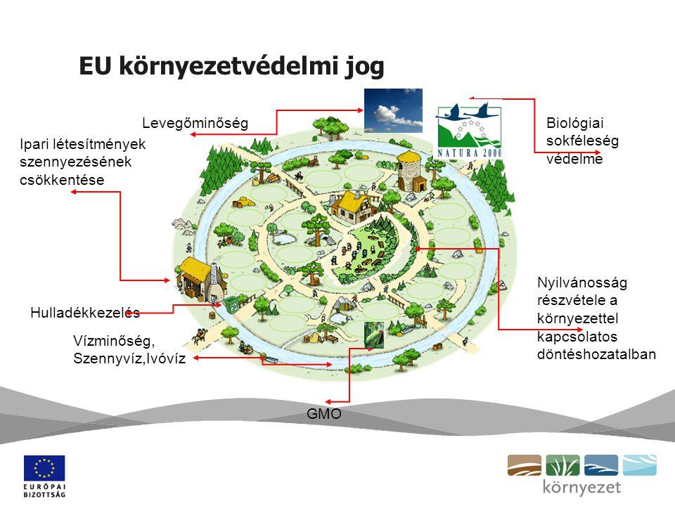 EU környezetvédelmi jog Biológiai sokféleség védelme Nyilvánosság részvétele a környezettel kapcsolatos döntéshozatalban Levegőminőség Ipari létesítmények szennyezésének csökkentése Hulladékkezelés Vízminőség, Szennyvíz,Ivóvíz GMO