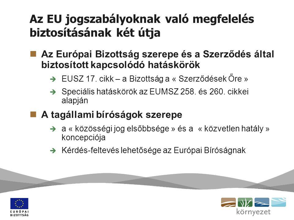 Az EU jogszabályoknak való megfelelés biztosításának két útja Az Európai Bizottság szerepe és a Szerződés által biztosított kapcsolódó hatáskörök  EUSZ 17.