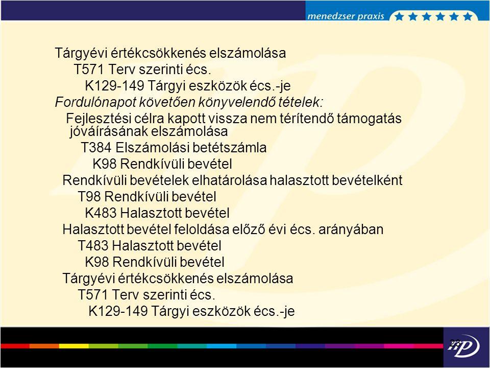 23 Tárgyévi értékcsökkenés elszámolása T571 Terv szerinti écs. K129-149 Tárgyi eszközök écs.-je Fordulónapot követően könyvelendő tételek: Fejlesztési