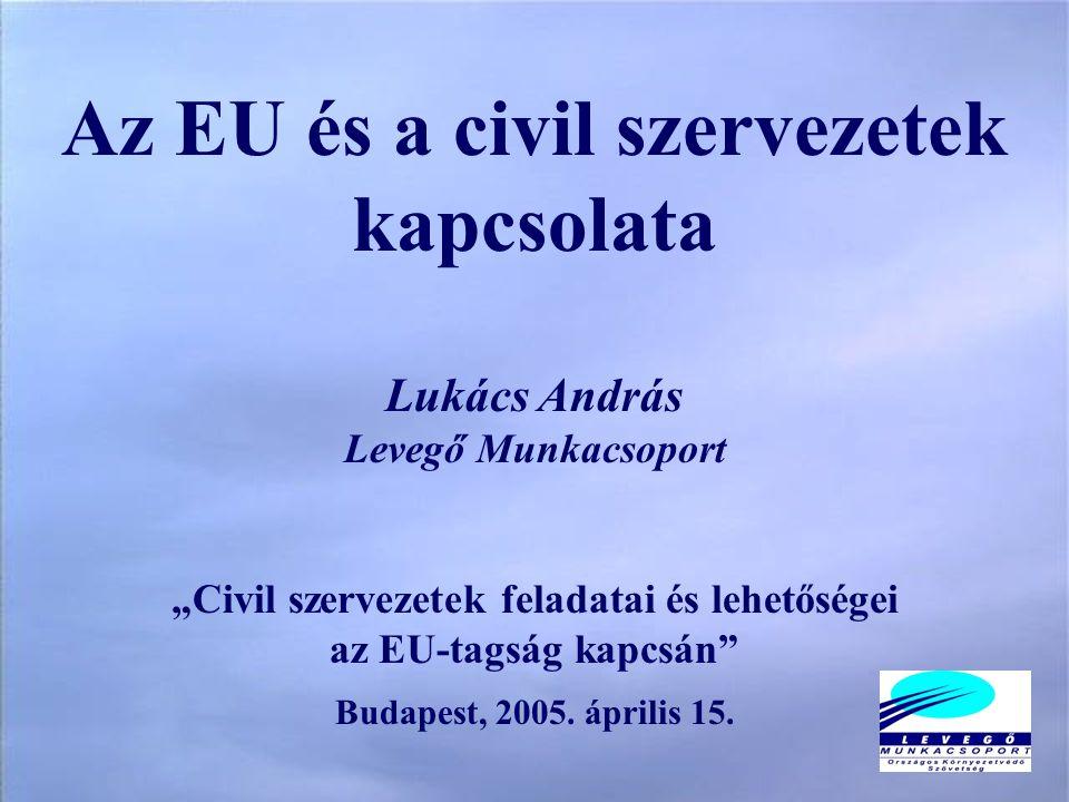 """Az EU és a civil szervezetek kapcsolata Lukács András Levegő Munkacsoport """"Civil szervezetek feladatai és lehetőségei az EU-tagság kapcsán Budapest, 2005."""
