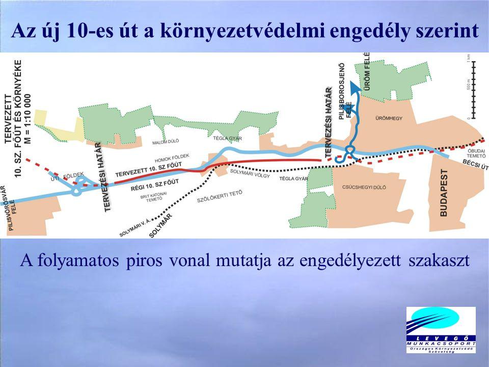 Az új 10-es út a környezetvédelmi engedély szerint A folyamatos piros vonal mutatja az engedélyezett szakaszt