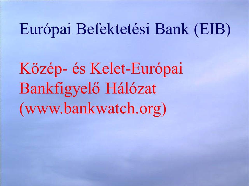 Európai Befektetési Bank (EIB) Közép- és Kelet-Európai Bankfigyelő Hálózat (www.bankwatch.org)