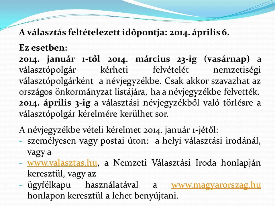 A választás feltételezett időpontja: 2014. április 6. Ez esetben: 2014. január 1-től 2014. március 23-ig (vasárnap) a választópolgár kérheti felvételé