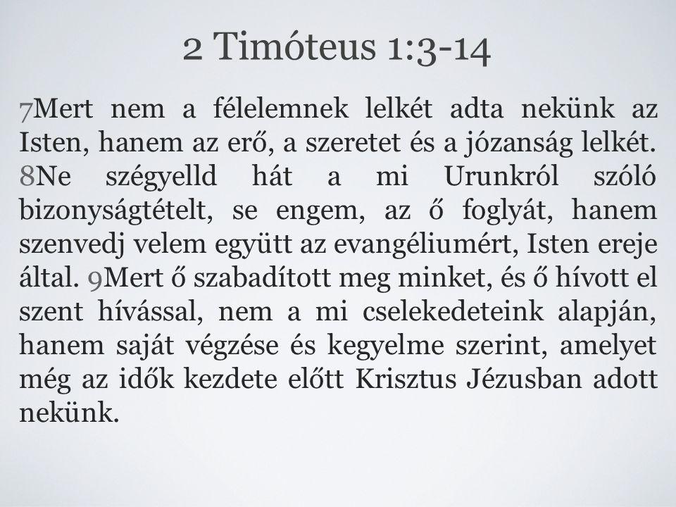 7Mert nem a félelemnek lelkét adta nekünk az Isten, hanem az erő, a szeretet és a józanság lelkét. 8Ne szégyelld hát a mi Urunkról szóló bizonyságtéte