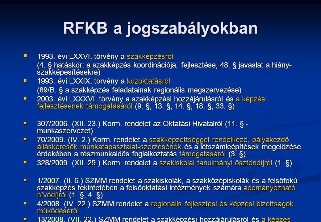 RFKB a jogszabályokban  1993. évi LXXVI. törvény a szakképzésről (4. § hatáskör: a szakképzés koordinációja, fejlesztése, 48. § javaslat a hiány- sza
