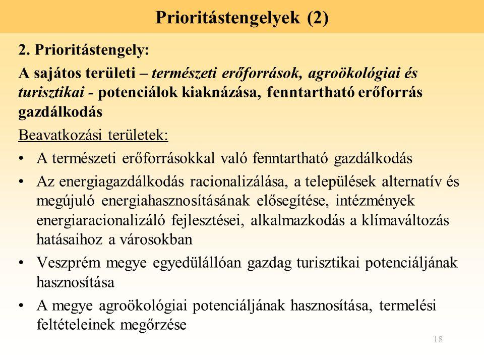 18 Prioritástengelyek (2) 2. Prioritástengely: A sajátos területi – természeti erőforrások, agroökológiai és turisztikai - potenciálok kiaknázása, fen