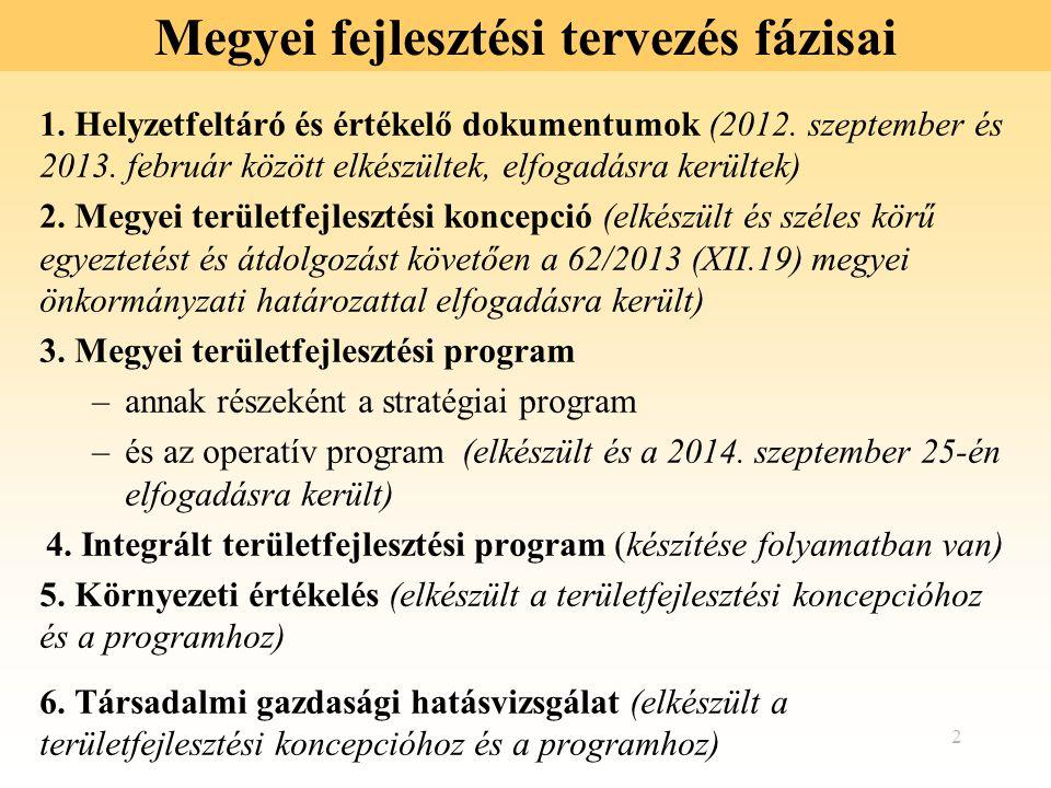 2 Megyei fejlesztési tervezés fázisai 1. Helyzetfeltáró és értékelő dokumentumok (2012. szeptember és 2013. február között elkészültek, elfogadásra ke