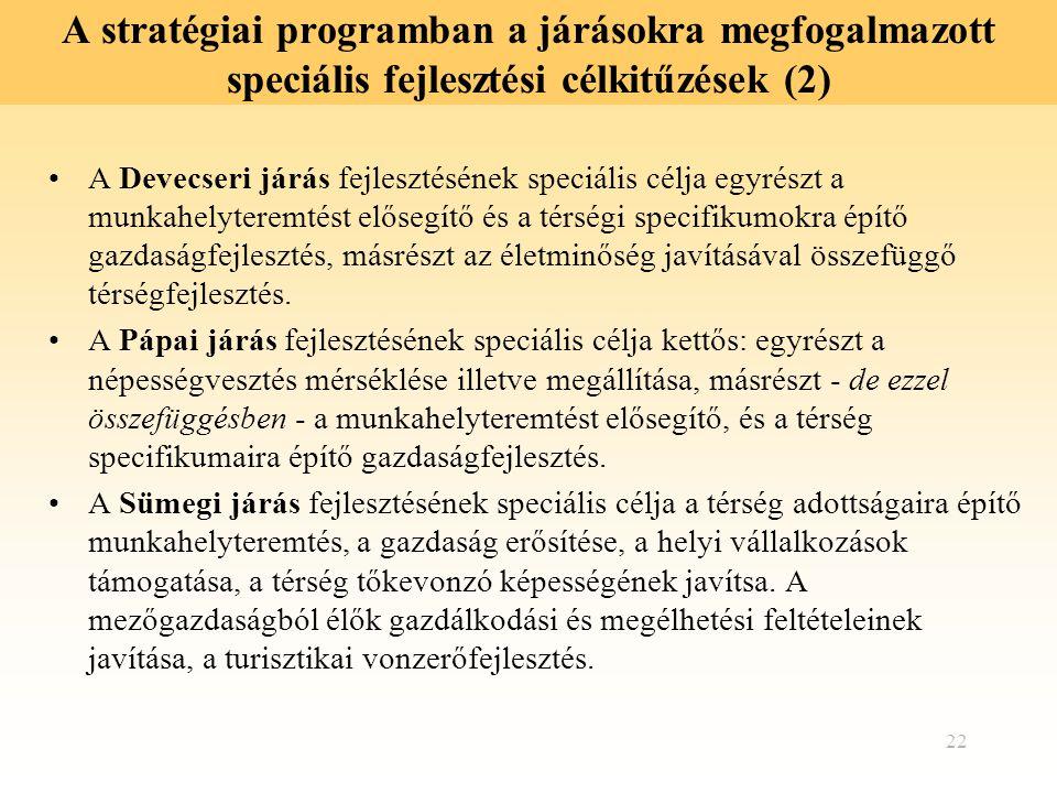 22 A stratégiai programban a járásokra megfogalmazott speciális fejlesztési célkitűzések (2) A Devecseri járás fejlesztésének speciális célja egyrészt