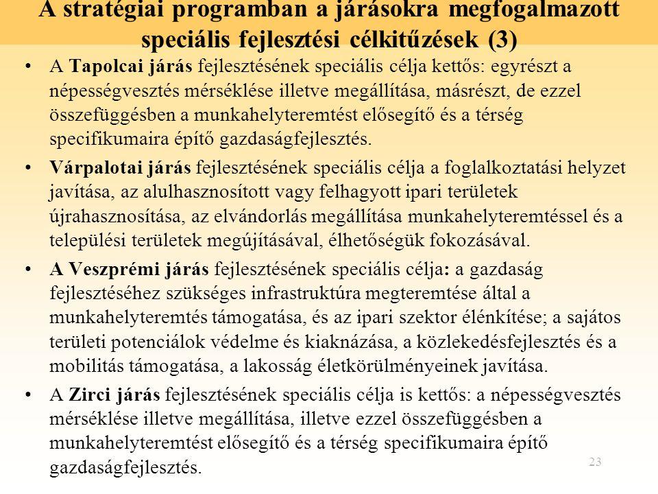 23 A stratégiai programban a járásokra megfogalmazott speciális fejlesztési célkitűzések (3) A Tapolcai járás fejlesztésének speciális célja kettős: e