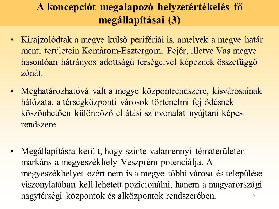 6 A koncepciót megalapozó helyzetértékelés fő megállapításai (4) Ismételten megállapításra került, hogy Veszprém megye fejlődése és fejlesztése nem ragadható ki a területét körülvevő tág térből.