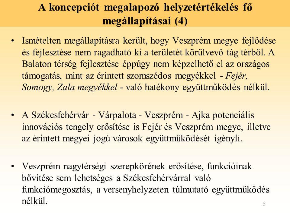 6 A koncepciót megalapozó helyzetértékelés fő megállapításai (4) Ismételten megállapításra került, hogy Veszprém megye fejlődése és fejlesztése nem ra