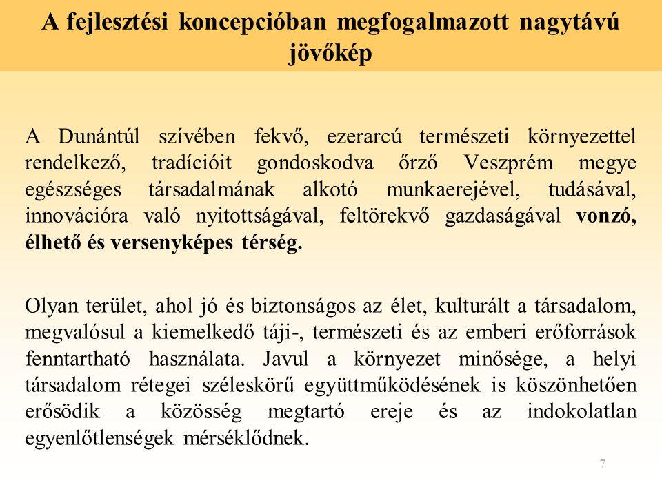 7 A fejlesztési koncepcióban megfogalmazott nagytávú jövőkép A Dunántúl szívében fekvő, ezerarcú természeti környezettel rendelkező, tradícióit gondos