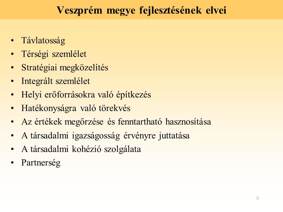 9 Veszprém megye fejlesztésének elvei Távlatosság Térségi szemlélet Stratégiai megközelítés Integrált szemlélet Helyi erőforrásokra való építkezés Hat