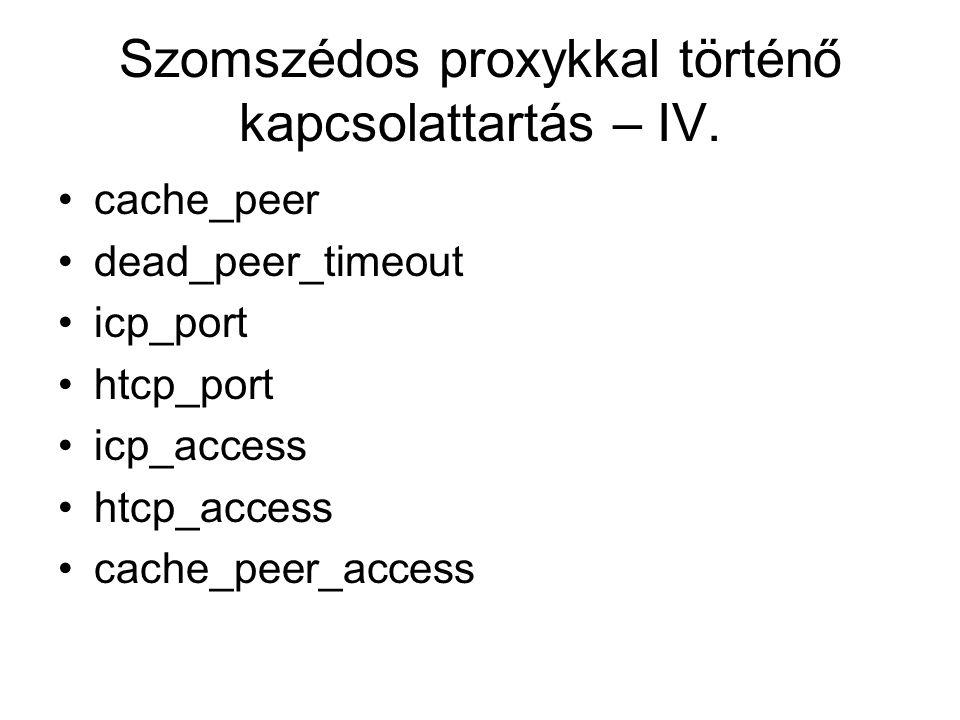 Szomszédos proxykkal történő kapcsolattartás – IV. cache_peer dead_peer_timeout icp_port htcp_port icp_access htcp_access cache_peer_access