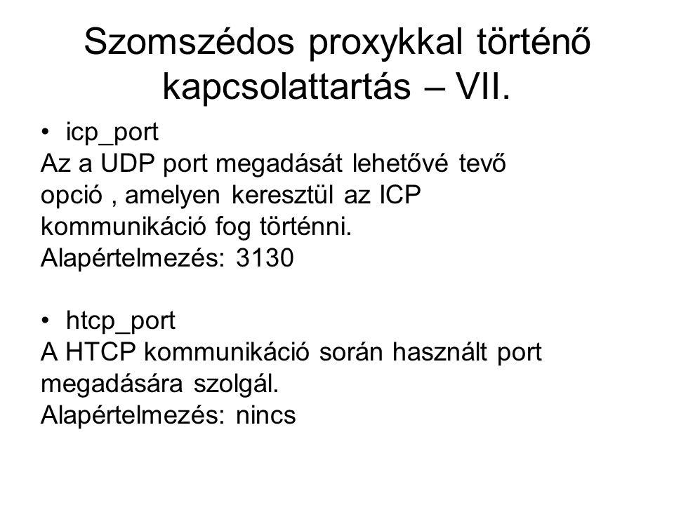 Szomszédos proxykkal történő kapcsolattartás – VII. icp_port Az a UDP port megadását lehetővé tevő opció, amelyen keresztül az ICP kommunikáció fog tö