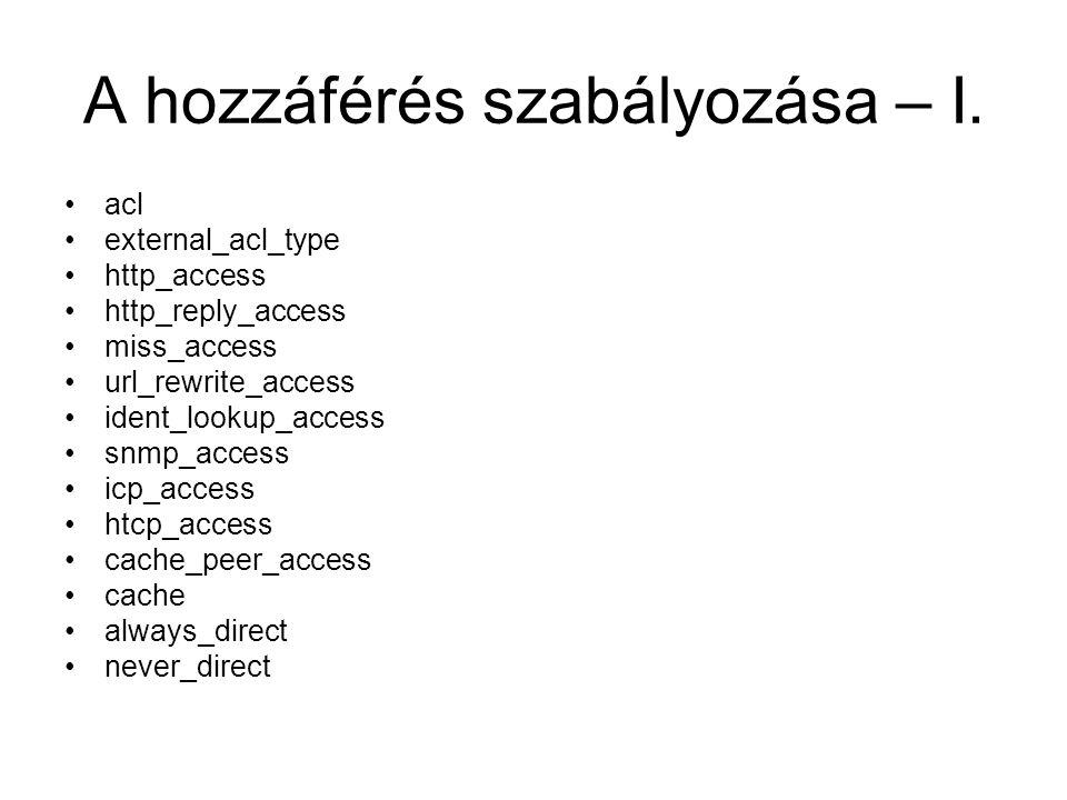 A hozzáférés szabályozása – I. acl external_acl_type http_access http_reply_access miss_access url_rewrite_access ident_lookup_access snmp_access icp_