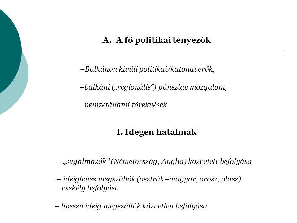 """A. A fő politikai tényezők –Balkánon kívüli politikai/katonai erők, –balkáni (""""regionális"""") pánszláv mozgalom, –nemzetállami törekvések I. Idegen hata"""