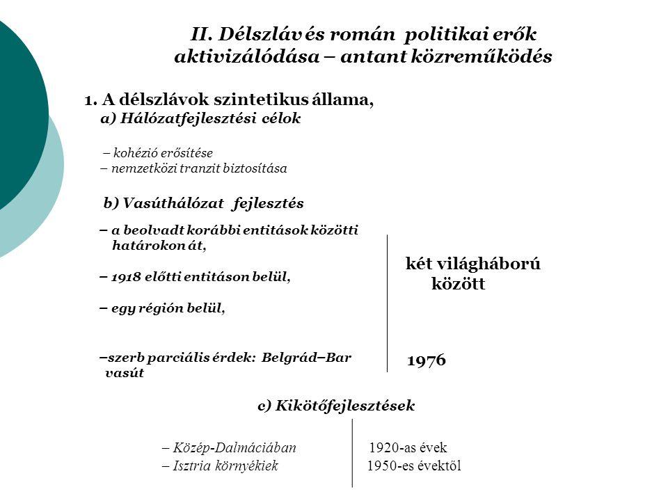 II. Délszláv és román politikai erők aktivizálódása – antant közreműködés 1.