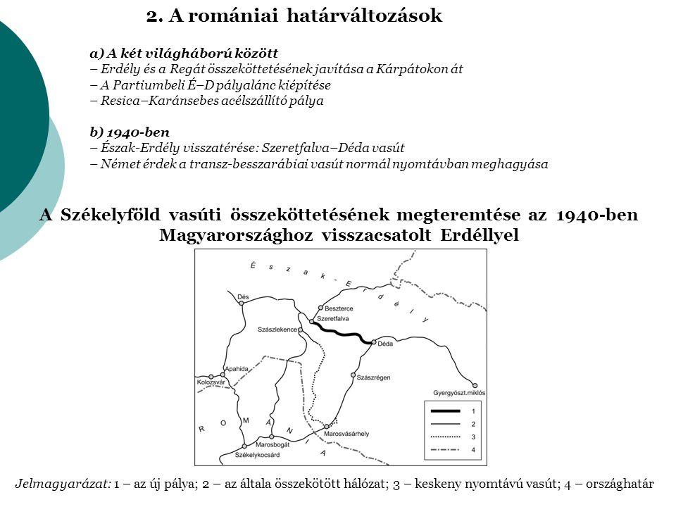2. A romániai határváltozások a) A két világháború között – Erdély és a Regát összeköttetésének javítása a Kárpátokon át – A Partiumbeli É–D pályalánc