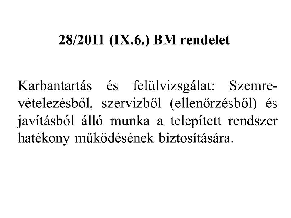 28/2011 (IX.6.) BM rendelet Karbantartás és felülvizsgálat: Szemre- vételezésből, szervizből (ellenőrzésből) és javításból álló munka a telepített ren