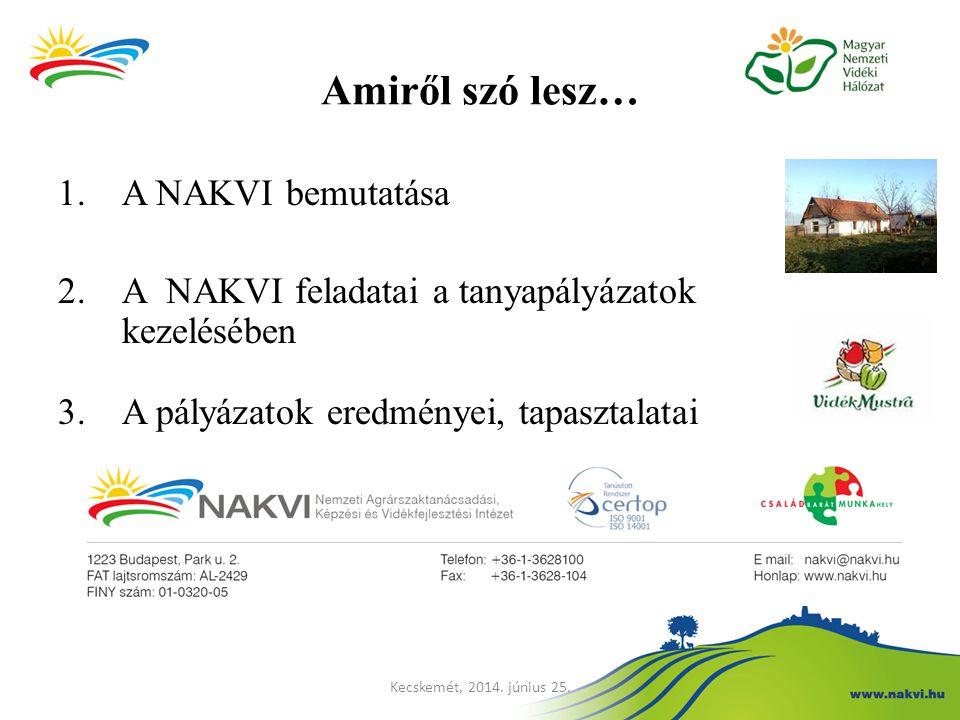 Amiről szó lesz… 1.A NAKVI bemutatása 2.A NAKVI feladatai a tanyapályázatok kezelésében 3.A pályázatok eredményei, tapasztalatai Kecskemét, 2014. júni