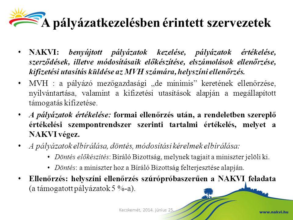 A pályázatkezelésben érintett szervezetek NAKVI: benyújtott pályázatok kezelése, pályázatok értékelése, szerződések, illetve módosításaik előkészítése