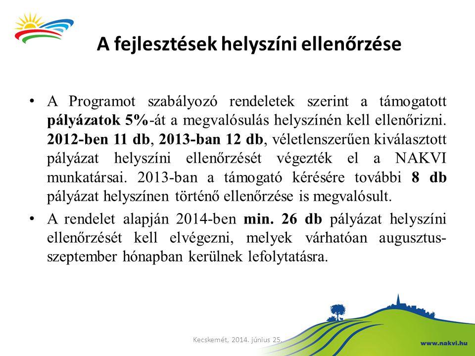 A Programot szabályozó rendeletek szerint a támogatott pályázatok 5%-át a megvalósulás helyszínén kell ellenőrizni. 2012-ben 11 db, 2013-ban 12 db, vé