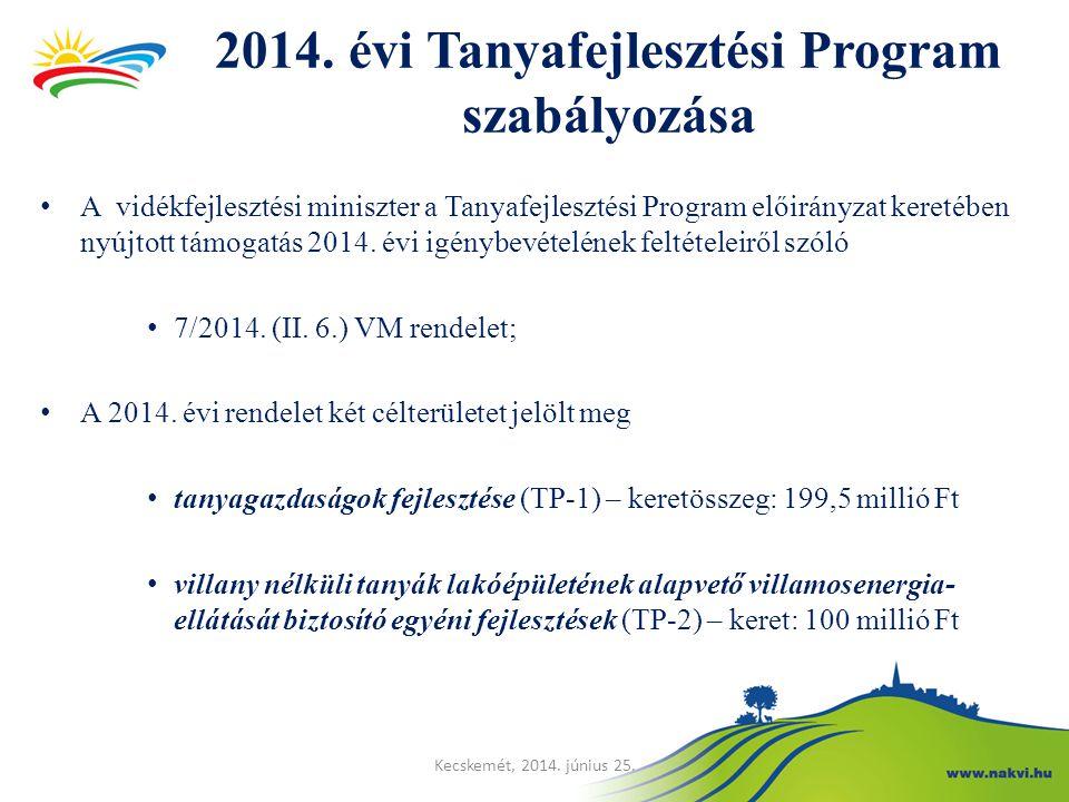 2014. évi Tanyafejlesztési Program szabályozása A vidékfejlesztési miniszter a Tanyafejlesztési Program előirányzat keretében nyújtott támogatás 2014.