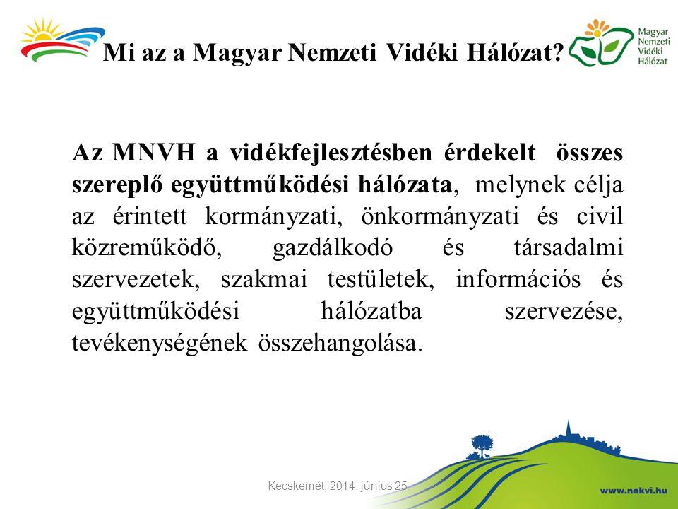 Mi az a Magyar Nemzeti Vidéki Hálózat? Az MNVH a vidékfejlesztésben érdekelt összes szereplő együttműködési hálózata, melynek célja az érintett kormán