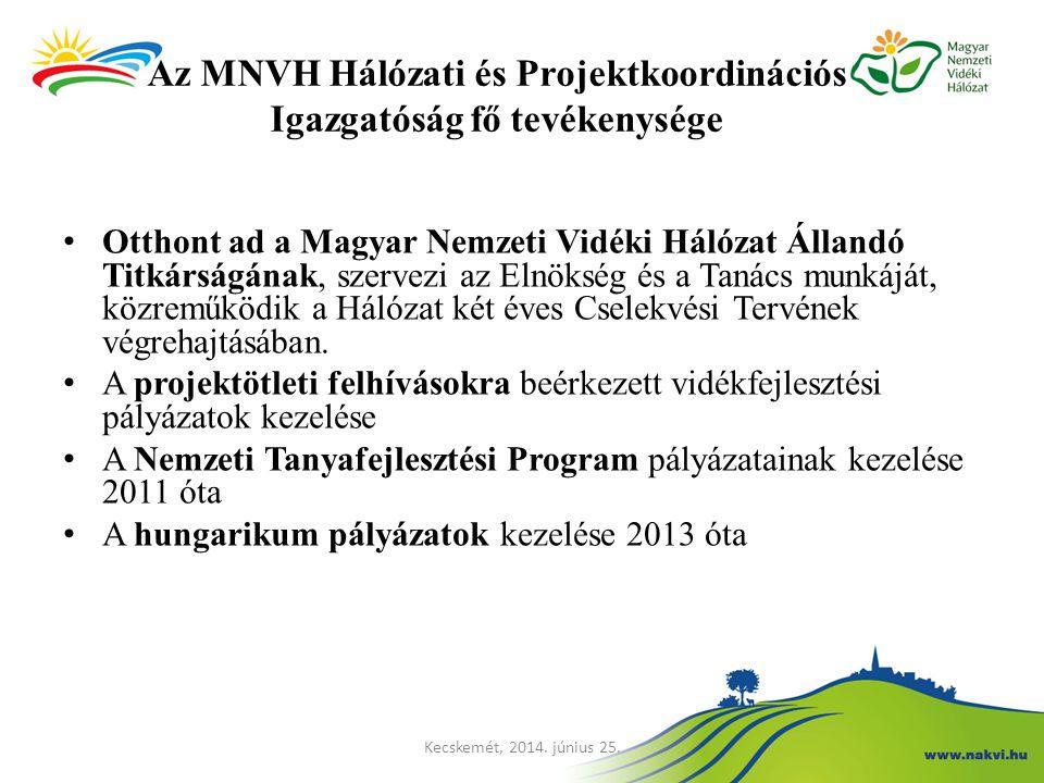 Az MNVH Hálózati és Projektkoordinációs Igazgatóság fő tevékenysége Otthont ad a Magyar Nemzeti Vidéki Hálózat Állandó Titkárságának, szervezi az Elnö