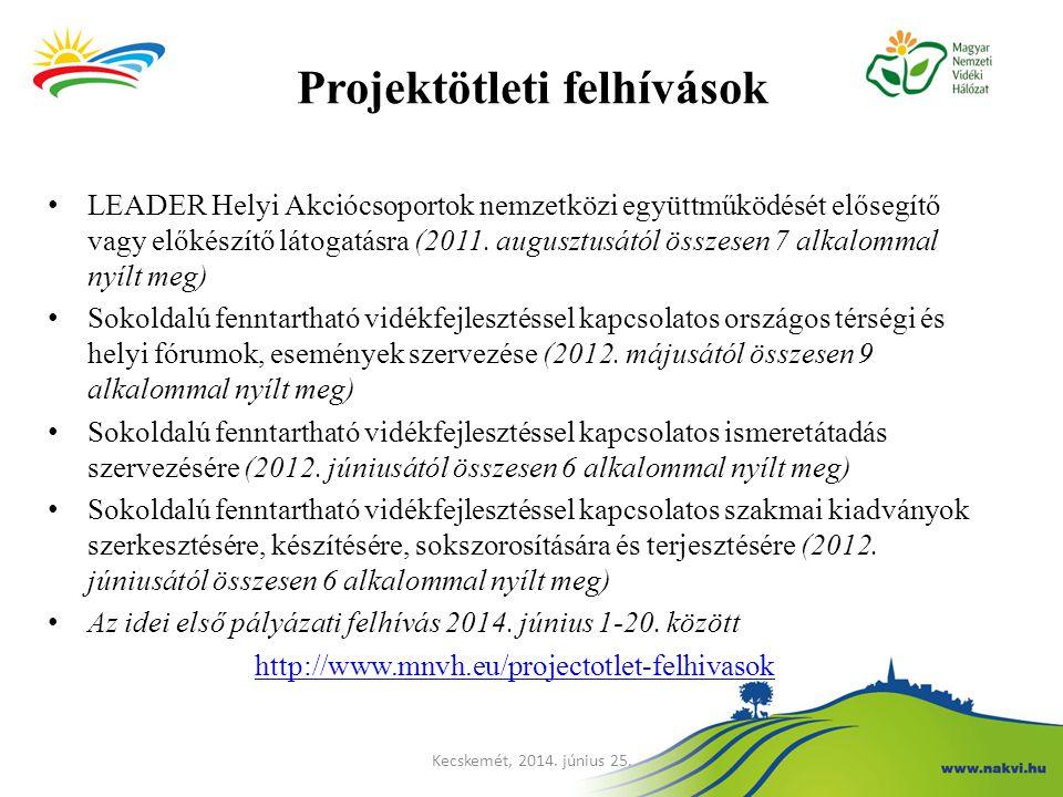 Projektötleti felhívások LEADER Helyi Akciócsoportok nemzetközi együttműködését elősegítő vagy előkészítő látogatásra (2011. augusztusától összesen 7
